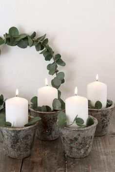 DIY Adventskranz mal anders mit Eukalyptus Vierter Advent, Advent Wreath, Christmas Is Coming, Christmas Mood, Merry Little Christmas, Christmas 2017, Christmas Projects, Christmas Wonderland, Decoration Table