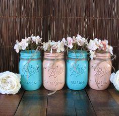 Mason Jars, Ball jars, Painted Mason Jars, Flower Vases, Rustic Wedding Centerpieces, Turquoise and Coral Mason Jars via Etsy