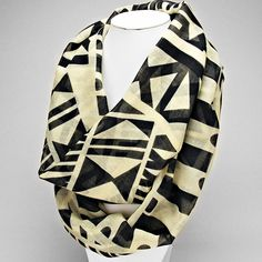 Tribal Geometric Print Infinity Scarf - Black - The Rustic Shop