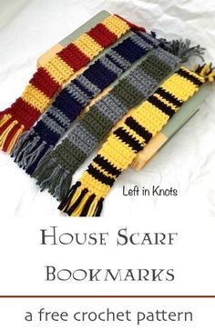 A free crochet pattern! Make this Harry Potter inspired House Scarf Bookmark in any or all of your favorite house colors. Are you a Gryffindor, Hufflepuff, Ravenclaw or Slytherin? A perfect pattern for beginners! #crochet #harrypotter #reading #freecrochetpattern #housescarf
