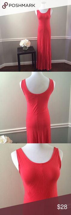 "GAP coral Maxi Dress Washed and never worn. Sleeveless maxi dress.100% rayon. Soft like a t-shirt. Length 56"". GAP Dresses Maxi"