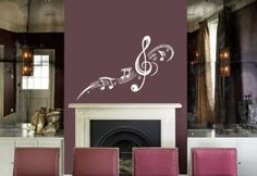 treble clef wall sticker for pink wall
