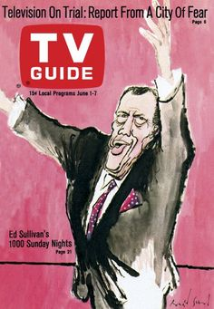 TV Guide June 1, 1968 - Ed Sullivan of The Ed Sullivan Show. Illustration by Ronald Searle.