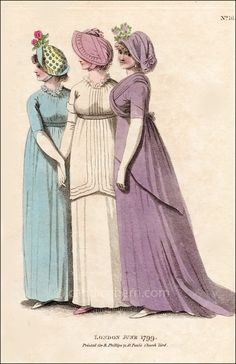 """""""Le Brun's Hat; made of cane, and lined with blue; turned up before and behind; wild rose, or other flower, in front. Blue muslin round dress ..."""""""