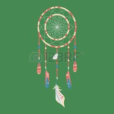 Vector dream catcher with colorful feathers on green background. Elegant tender design for card, website, wrapping, background. Ethnic boho  elements of nature photo