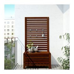 ÄPPLARÖ Bench with wall panel, outdoor, brown stained brown - IKEA
