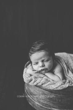 Cassie Van Boven Photography Indoor natural light newborn boy posing Whatcom County Newborn photographer