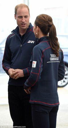 A day out: Keen sailors Kate and William appear enthusiastic about their jam-packed day as they arrive in Portsmouth