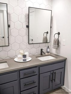 Double Sink Bathroom Vanity Makeover - Taryn Whiteaker This double sink bathroom vanity was just a basic bathroom and now has it's own custom modern look with marble looking hexagon tile and industrial touches. Bathroom Vanity Makeover, Bathroom Sink Vanity, Bathroom Marble, Bathroom Tray, Bathroom Containers, Boy Bathroom, Silver Bathroom, Bathroom Sink Countertop, White Bathroom