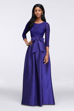 3/4 Sleeve Taffeta Ball Mother of Bride/Groom Gown with Lace Bodice - Royal (Purple), 10