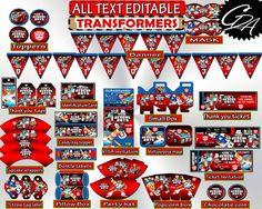 Transformers Birthday Party Decorations Printable, Editable Birthday Party Transformers Pack, Decor Set, Bundle Pack, Instant Download - tf1 #babyshowerdisney #babyshowerfrozen