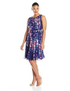 Adrianna Papell Womens Plus-Size Pleated Floral-Print Dress