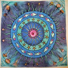"Under the Sea, 21""x21"", Silk painting underwater mandala spiritual gifts silk"
