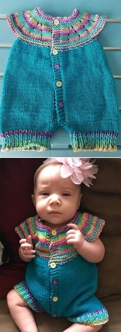 Free Knitting Pattern for Marianna's All-in-One Romper Suit - Seamless onesie with circular yoke knit from the top down. Pattern size is for newborn but can be Baby Boy Knitting, Knitting For Kids, Easy Knitting, Knitting Projects, Baby Knitting Patterns Free Newborn, Baby Romper Pattern, Newborn Fashion, Toddler Sweater, Romper Suit