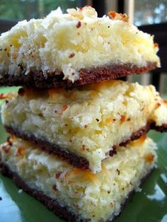 Black-Bottom Coconut Bars. Made these w/coconut flour to make Paleo