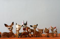 my grandmother always had these tiny woodland critters stashed away in a closet, and they were more fun to play with than any fisher price toys. i remember the little deer best.
