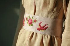 Lilac linen cross stitched rose and birds obisash belt by DGstyle, $30.00