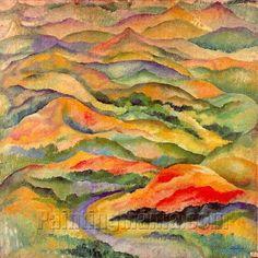 Mountains by Amadeo de Souza Cardoso Modernisme, Oil Painting Reproductions, Gustav Klimt, Online Painting, Heart Art, Oil Painting On Canvas, Landscape Art, Les Oeuvres, Sculptures