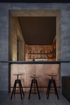 Czech-Republic-based firm Zavoral Architekt has unveiled the raw and sleek interior of the new Copper bar in the town centre of Litomysl.