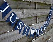 Just Married Hochzeit Banner - Hochzeit Sign in Marineblau und weiß - perfekt für nautische Motto Hochzeiten