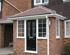 In need of front porch extension ideas? A garden porch enables an amazing and also welcoming livable space during the warm weather – possibly even into cold… Porch Uk, Front Door Porch, Front Porch Design, Garage Door Design, House With Porch, House Front, Porch Entrance, Porch Doors, Porch Designs
