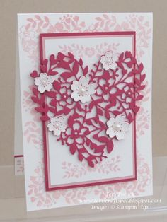 Today I am sharing another card I made for my Launch display :o) It uses the Bloomin' Heart thinlits die again - which is just so gorgeous! :o) I used the small floral heart from the Bloomin' Love st