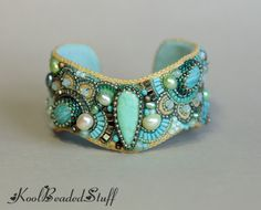 Turquoise and pearl wavy bead embroidery cuff