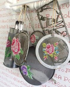 I don't think I would make these, but they are SO creative! Cross Stitch Art, Modern Cross Stitch, Cross Stitching, Cross Stitch Patterns, Ribbon Embroidery, Embroidery Art, Cross Stitch Embroidery, Bordados E Cia, So Creative