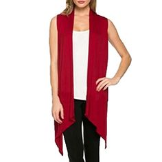FCYOSO Women's Solid Color Sleeveless Asymetric Hem Open Front Cardigan (US,M/Asia,L) Red -- Awesome products selected by Anna Churchill