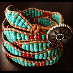 Turquoise and red wrap bracelet. Varying the amount of beads in your wrap adds interest. Beaded Wrap Bracelets, Beaded Jewelry, Loom Beading, Beading Patterns, Bead Crafts, Jewelry Crafts, Beaded Leather Wraps, Bead Weaving, Fashion Bracelets