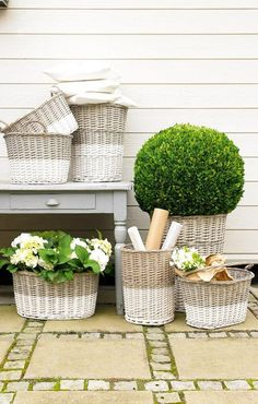 "Baskets...paint the bottom half all the same colors to make ""matched sets"" out of random basket finds!"
