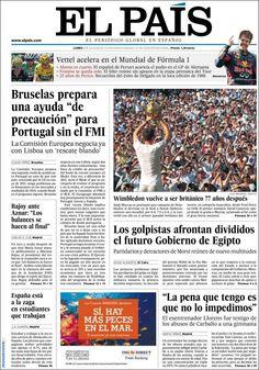 Los Titulares y Portadas de Noticias Destacadas Españolas del 8 de Julio de 2013 del Diario El País ¿Que le parecio esta Portada de este Diario Español?