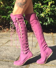 Leather Boots – Purple Knee High Leather Boots | Gipsy Dharma