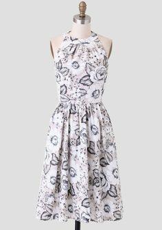 Black/white/beige floral high neck dress, midi skirt length - Ruche