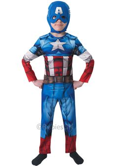 Take the lead of the Avengers gang with this epic Marvel outfit. The Captain America Costume includes a printed jumpsuit and headpiece combo. From our Superhero Costumes range. Costume Captain America, Captain America Helmet, Marvel Captain America, Superhero Fancy Dress, Boys Fancy Dress, Superhero Capes, Marvel Avengers, Avengers Cartoon, Marvel Comics