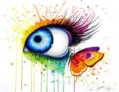art drawings colorful at DuckDuckGo Art Sketches, Art Drawings, Watercolor Paintings, Original Paintings, Watercolors, Arte Van Gogh, Realistic Eye Drawing, Eyes Artwork, Eye Painting