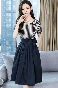 Knee-Length Pleated Office Lady Pullover Women& A-Line Dress Stylish Dresses, Elegant Dresses, Stylish Outfits, Cute Dresses, Casual Dresses, A Line Skirt Outfits, Women's A Line Dresses, Dress Outfits, A Line Skirts