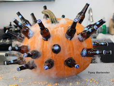 The Halloween Pumpkin Cooler! Do this with water bottles for Halloween? Check it out here: https://alehorn.com