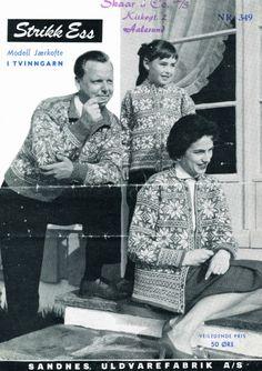 Jærkofte i Peer Gynt eller Smart, gratisoppskrift på sandnesgarn. Embroidery Patterns, Knitting Patterns, Norwegian Knitting, Vintage Knitting, Norway, Knit Crochet, Album, Couple Photos, Retro