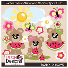 Watermelon Summer Bears Digital Clipart for Card Designs, Scrapbooking and Web Design by PPbNDesigns, $2.00