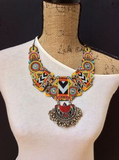 Beaded Bib Necklace with Vintage Kuchi Pendant, Tribal Necklace, Boho Necklace, Statement Necklace, Beadwork