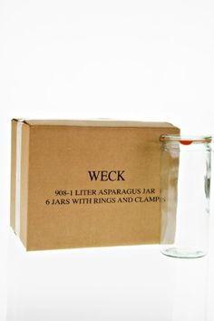Weck Cylindrical Jar, 1 Liter - Set of 6, Clear