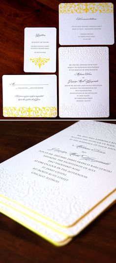 Lush and classic letterpress invitations from Sarah Drake made modern with bright yellow edging, my favorite detail...
