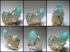 ~ cluster of colorless Quartz with phantoms of deep blue-green Ajoite inside - Messina Mine, South Africa