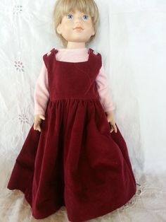 Handmade 2Pc 1800s Country Pioneer Prairie 18Inch Doll Dress with matching Bonnet Set
