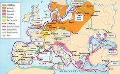 Rutas comerciales europeas hacia el siglo XIII.