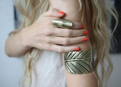 silver leaf ring and armband