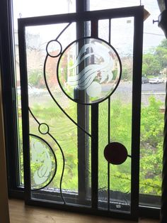 Modern Stained Glass Panel by WilliamsStainedGlass on Etsy