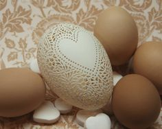 Hand Carved Victorian Lace Goose Egg: by theNestatWindyCorner
