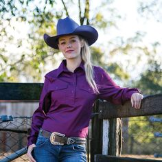 Womens Long Sleeve Brigalow Work Shirts Ladies Western Shirts, Ladies Shirts, Western Wear, Western Boots, Cowgirl Style, Work Shirts, Cowboy Hats, Lady, Long Sleeve
